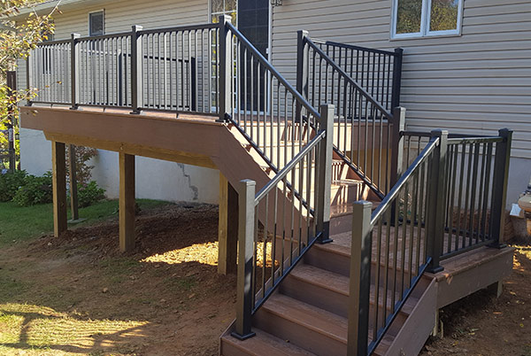 Newly built deck with materials provided by Central Maryland Sunrooms.