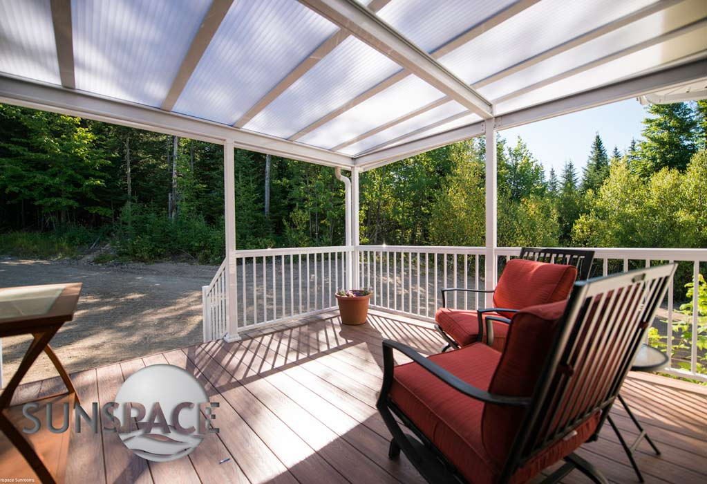 Acrylic roof patio cover provided by Sunspace.